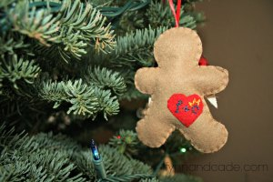 Gingerbread man with heart patch. fynnandcade.com